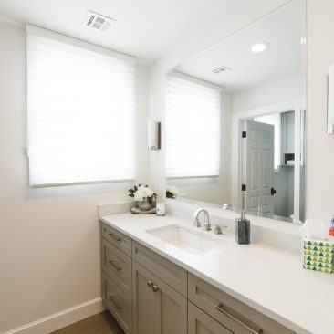 Bathroom Remodel - white counter, gray painted cabinets