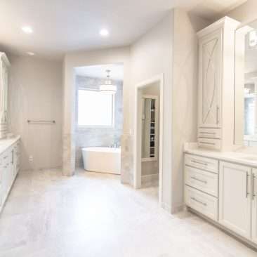 Master Bathroom Home Remodel in white and gray