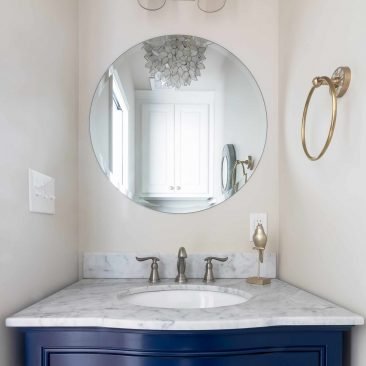 Home remodel - new powder bath with navy cabinet