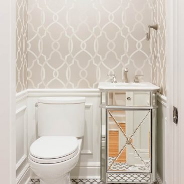 Powder Bath Remodel with wallpaper and mirrored cabinet