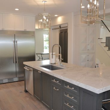 Kitchen remodel - new island with gray painted cabinets