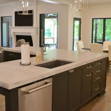 Kitchen to Living Room remodel with island