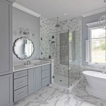 Primary bathroom remodel with marble tile