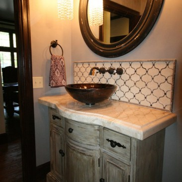 Powder Room Remodel Distressed Cabinet and Sink