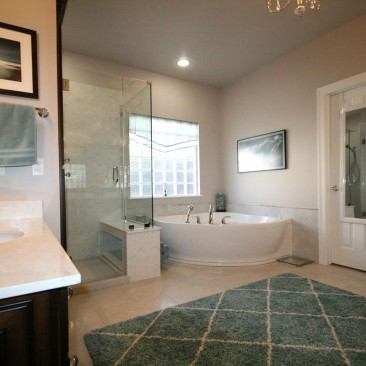 Bathroom Remodel - freestanding bathrobe, glass enclosed shower, tile