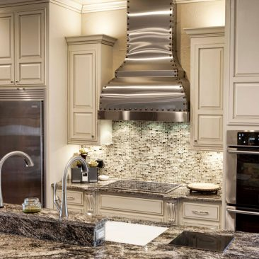 Kitchen Remodel with Galley sink, Stainless steel venthood