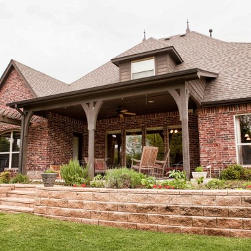 New Home Construction and Design - Outdoor patio, porch, and landscaping