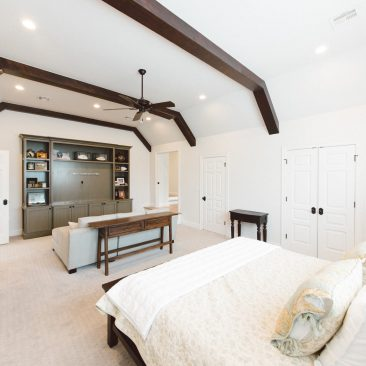 Bedroom Remodel with sitting area, exposed beams, white paint, neutral colors