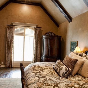 Master Bedroom Remodel with exposed beams, wood floors