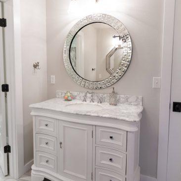 Custom Bathroom - white vanity with marble
