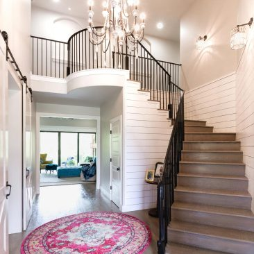 New Rustic Glam Custom Home - Foyer & Stairs with white shiplap & chandelier