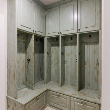 Custom Home hand distressed mudroom lockers