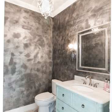 New Home Powder Bath with metallic paint finish and robin's egg blue vanity