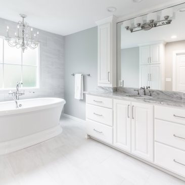 Master Bathroom - Home Addition - freestanding bathtub with chandelier