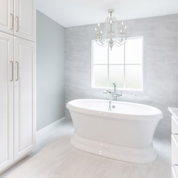 Master Bathroom - Home Addition with white linen closet