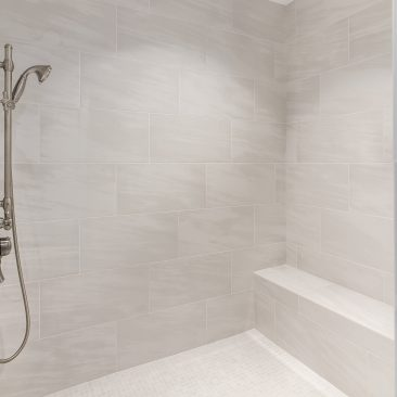 Master Bathroom - Home Addition - gray tiled shower